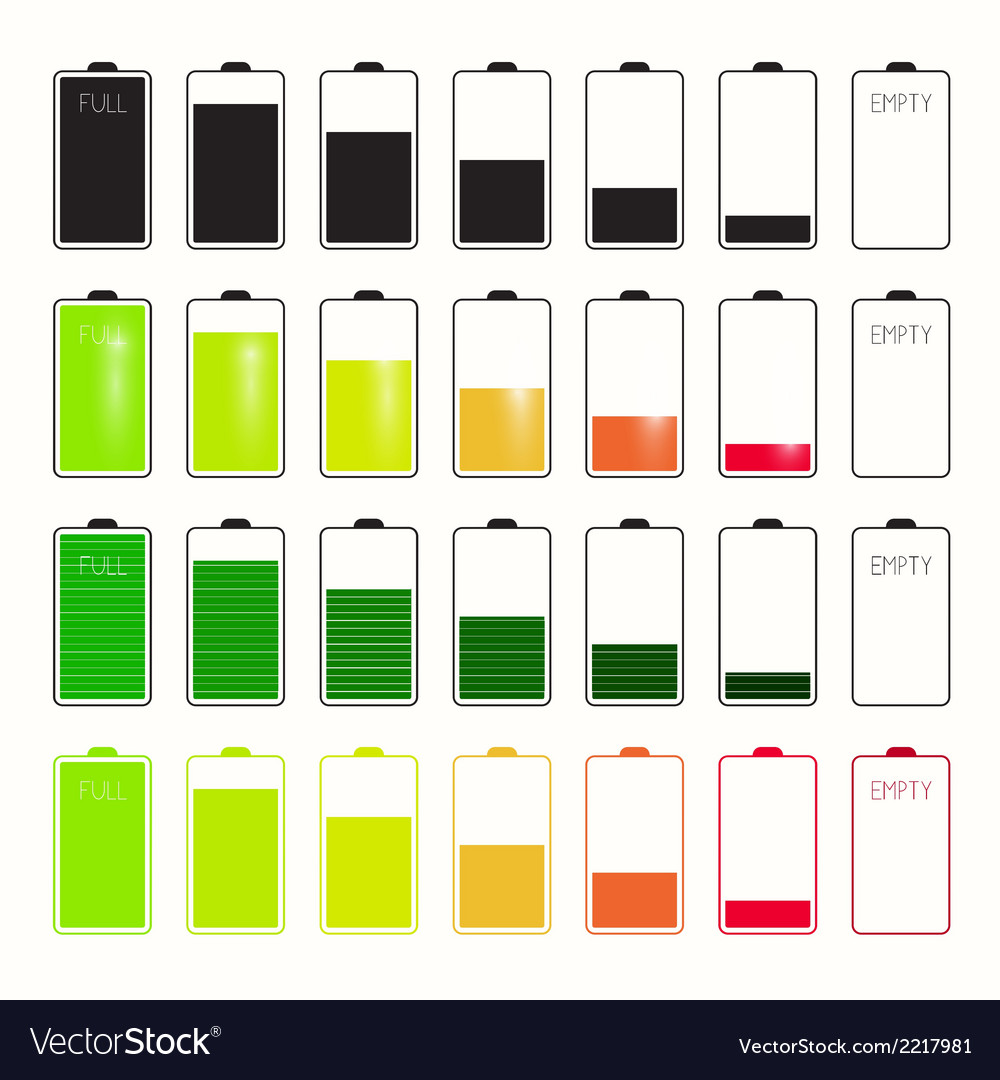 Battery life icons set set isolated on white vector | Price: 1 Credit (USD $1)