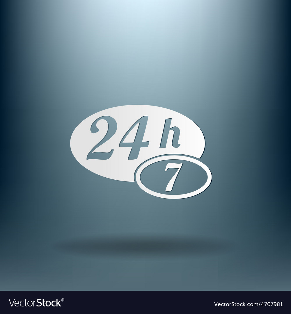 Character 24 7 open 24 hours a day and 7 days a vector | Price: 1 Credit (USD $1)
