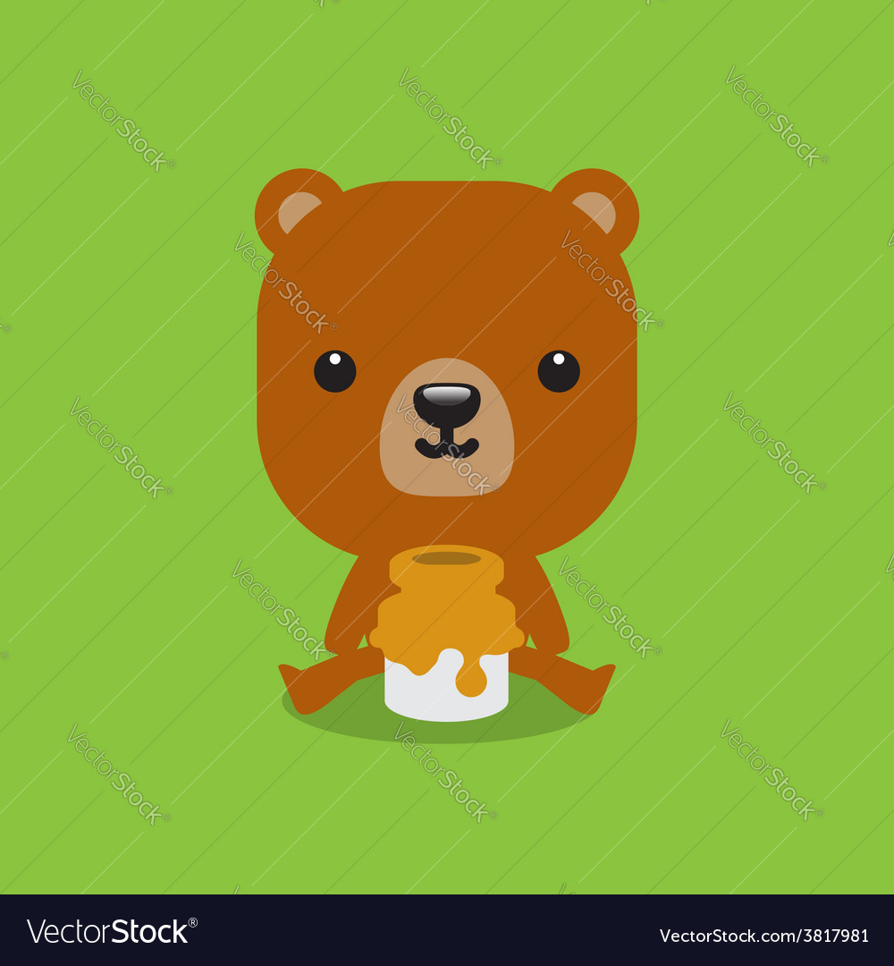 Cute bear with honey vector | Price: 1 Credit (USD $1)