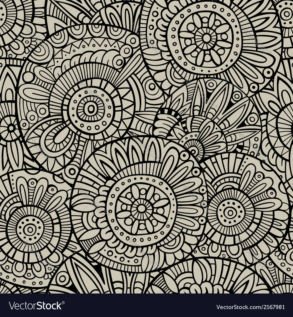 Decorative doodles seamless pattern vector | Price: 1 Credit (USD $1)