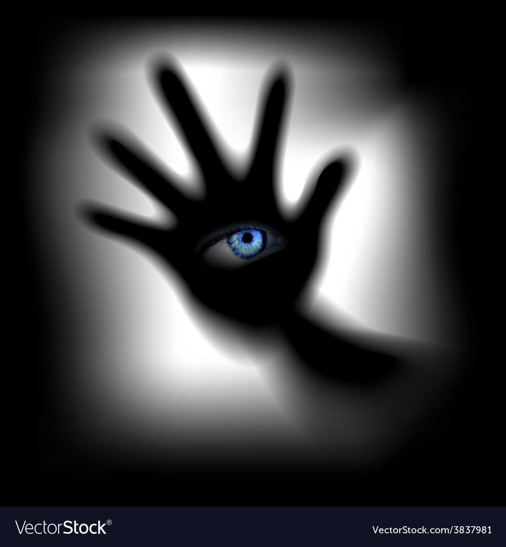 Hand with an eye for glass vector | Price: 1 Credit (USD $1)