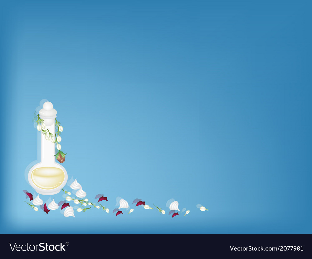 Perfume and soft prepared chalk on blue background vector | Price: 1 Credit (USD $1)