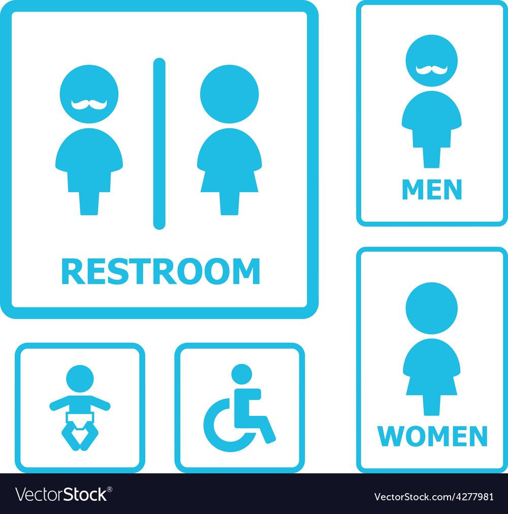 Restroom sign set vector   Price: 1 Credit (USD $1)