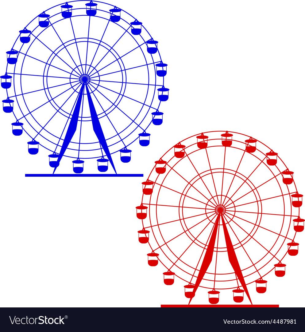 Silhouette atraktsion colorful ferris wheel vector   Price: 1 Credit (USD $1)