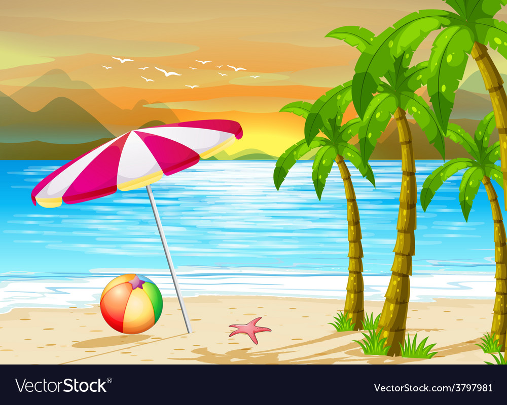 Summer beach background vector | Price: 3 Credit (USD $3)