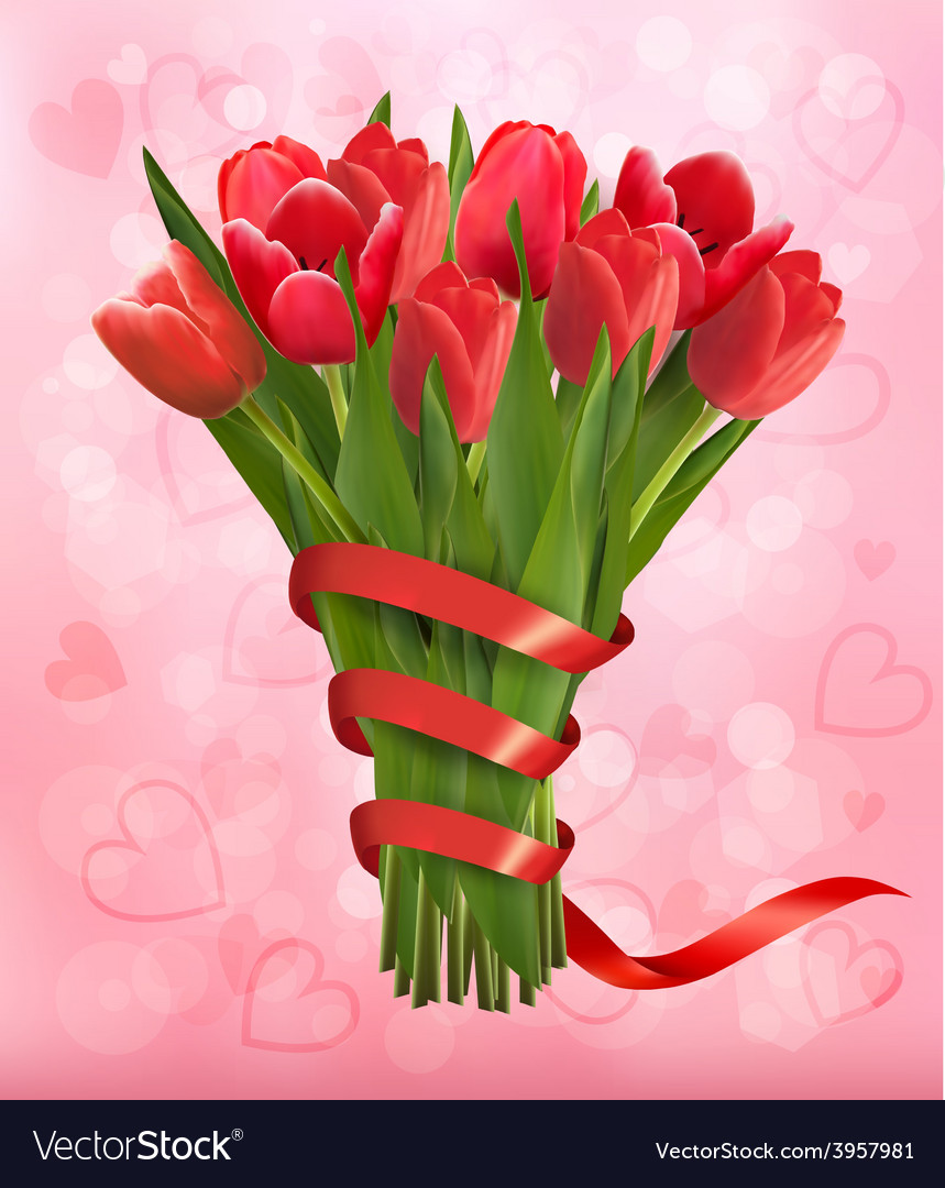 Valentines holiday background with bouquet of pink vector | Price: 3 Credit (USD $3)