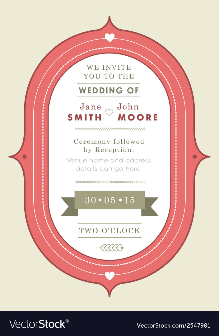 Wedding invitation red badge theme vector | Price: 1 Credit (USD $1)