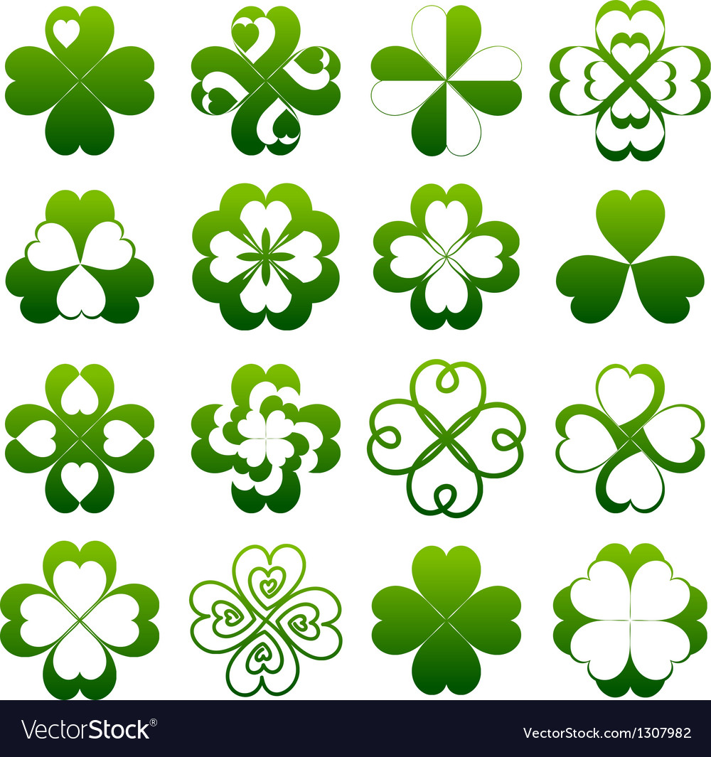 Abstract clover symbol set vector | Price: 1 Credit (USD $1)