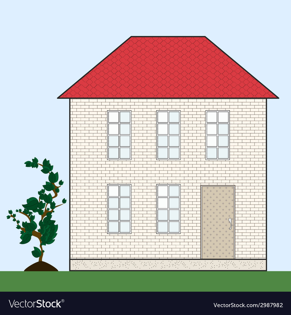 Brick house with red tile roof vector | Price: 1 Credit (USD $1)