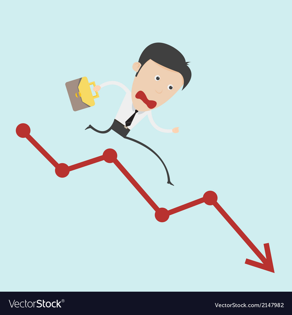Business man run over the negative graph vector | Price: 1 Credit (USD $1)
