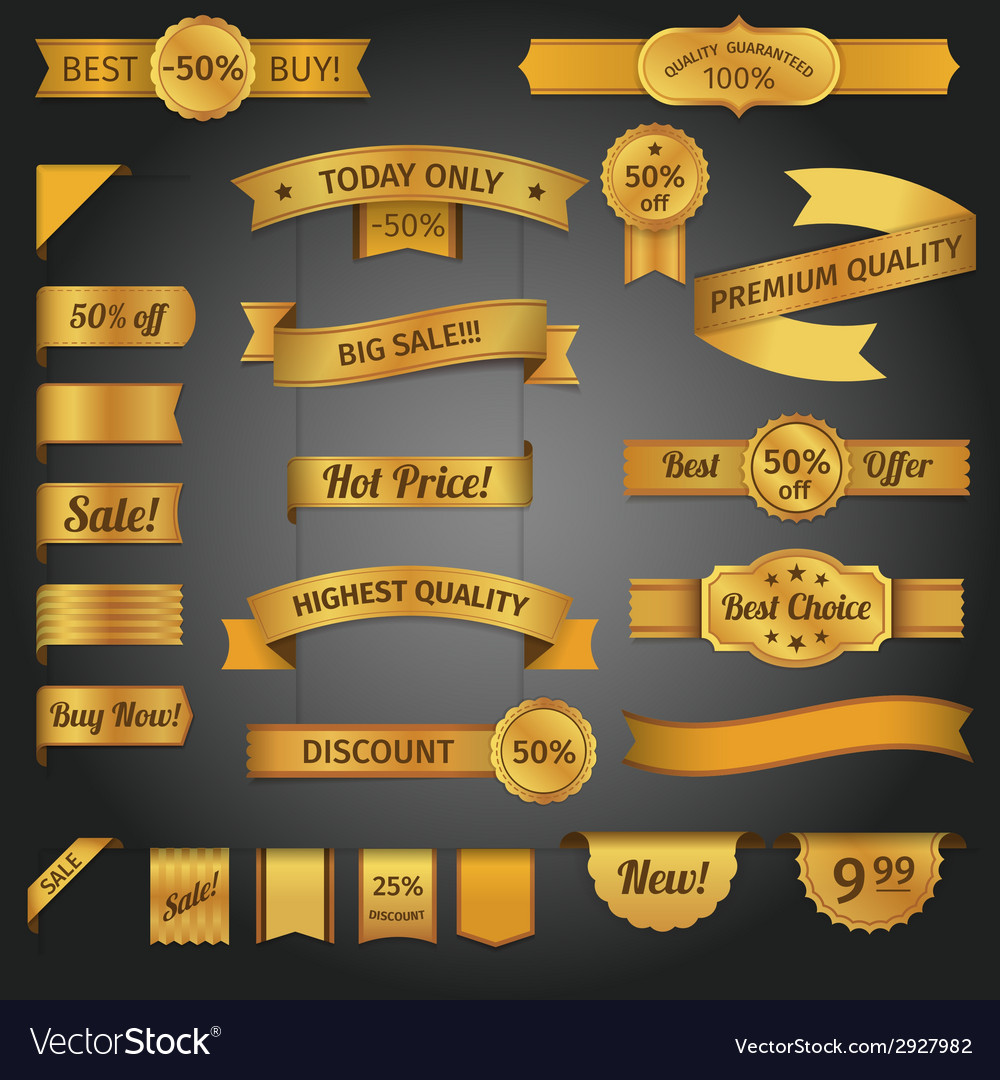 Discount retro ribbon golden set vector | Price: 1 Credit (USD $1)