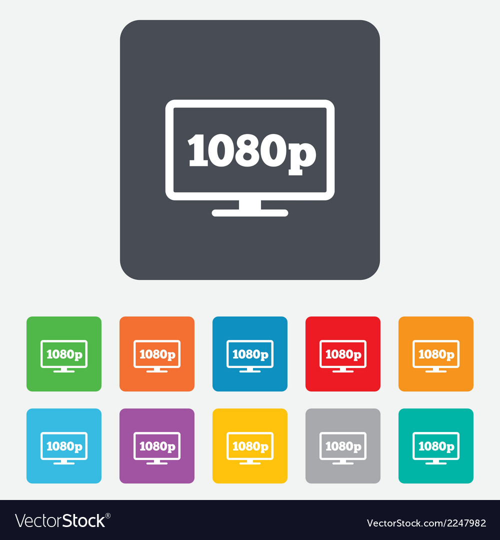 Full hd widescreen tv 1080p symbol vector | Price: 1 Credit (USD $1)