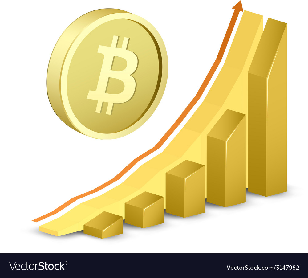 Growth chart with bitcoin sign vector | Price: 1 Credit (USD $1)