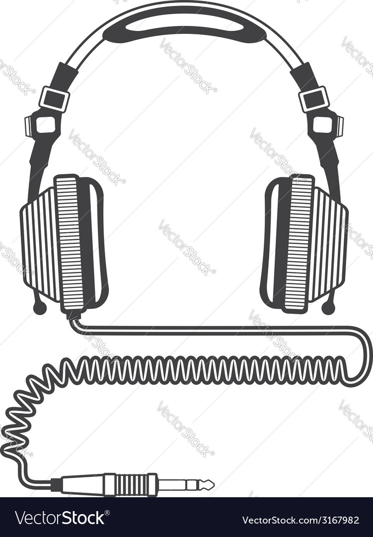 Outline big headphones vector | Price: 1 Credit (USD $1)