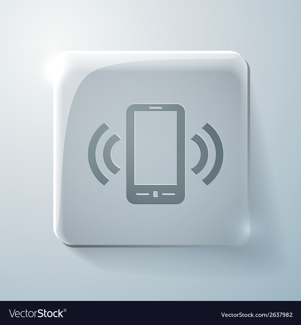 Ringing phone the call glass square icon vector | Price: 1 Credit (USD $1)