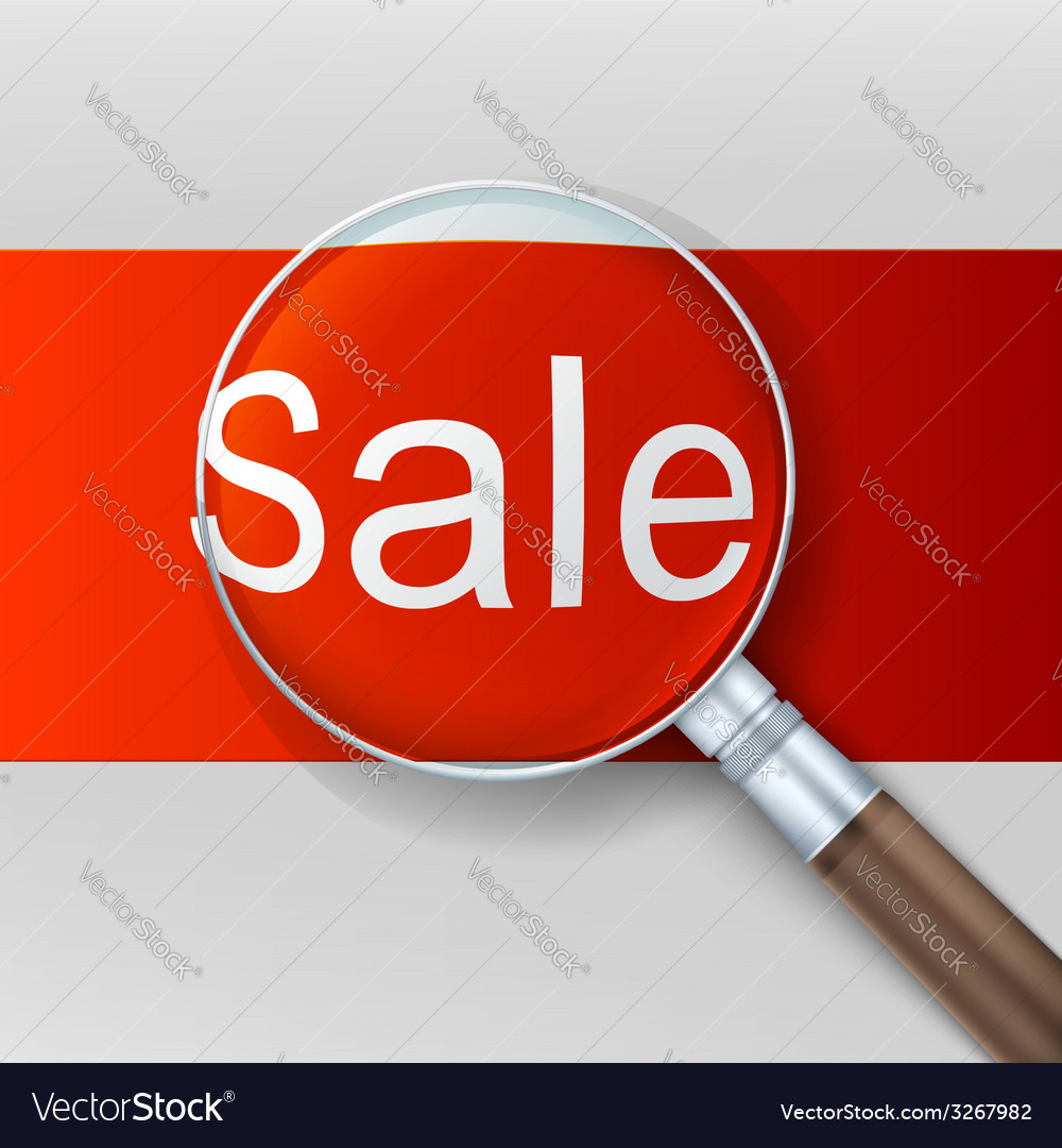 Sale magnifying glass over red background vector | Price: 1 Credit (USD $1)