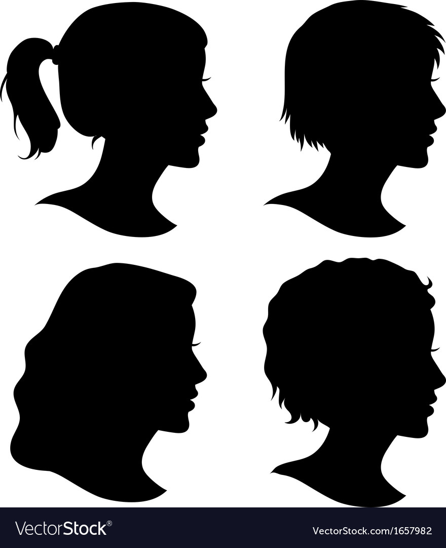 Set of female cameo silhouettes vector | Price: 1 Credit (USD $1)