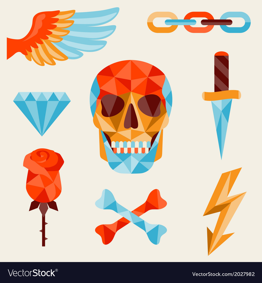 Skull and elements with colored geometric design vector | Price: 1 Credit (USD $1)