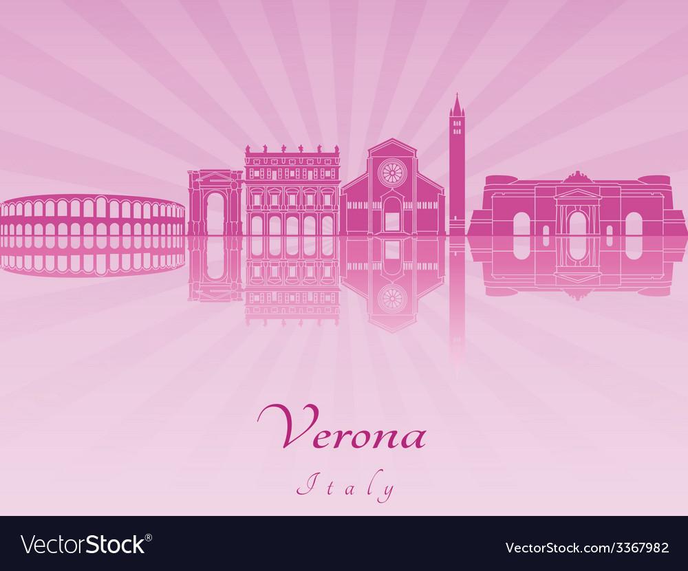 Verona skyline in purple radiant orchid vector | Price: 1 Credit (USD $1)