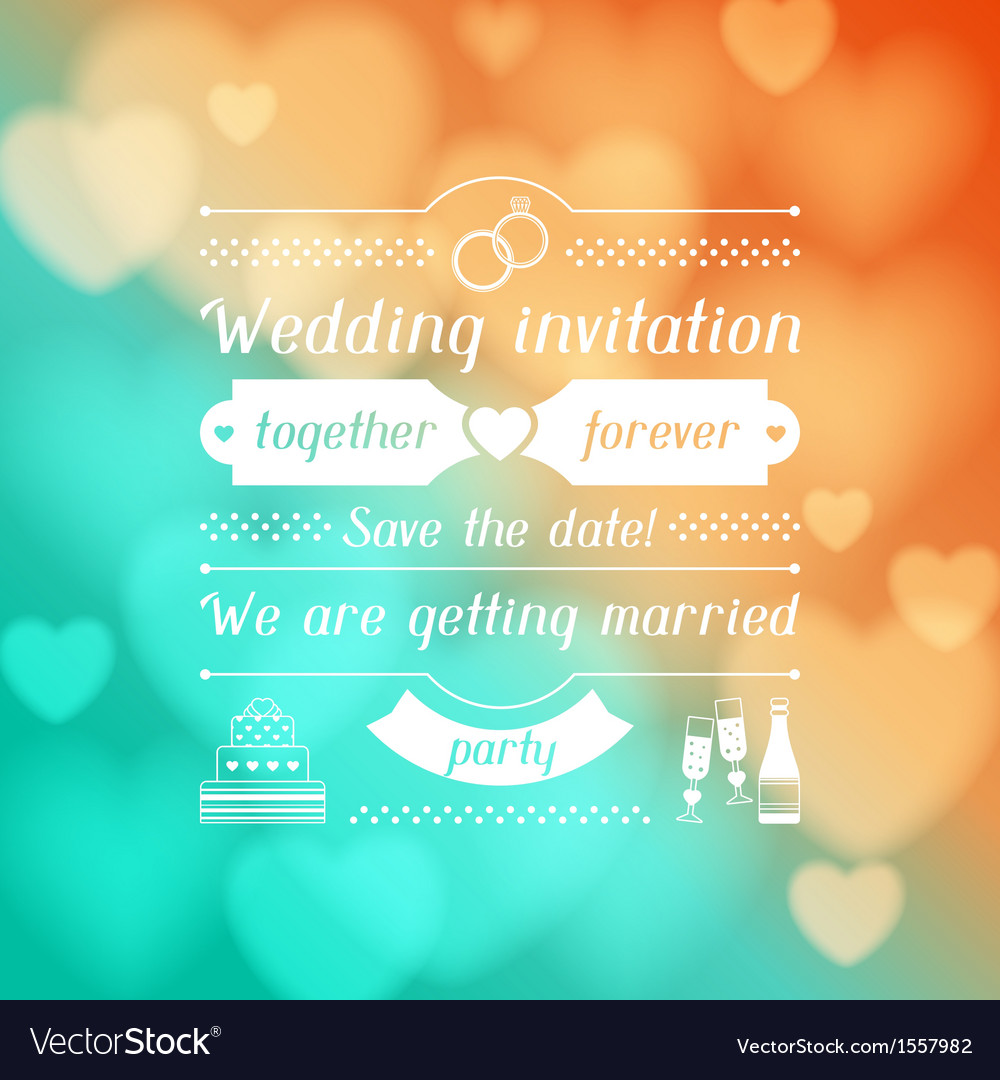 Wedding invitation card in retro style vector | Price: 1 Credit (USD $1)