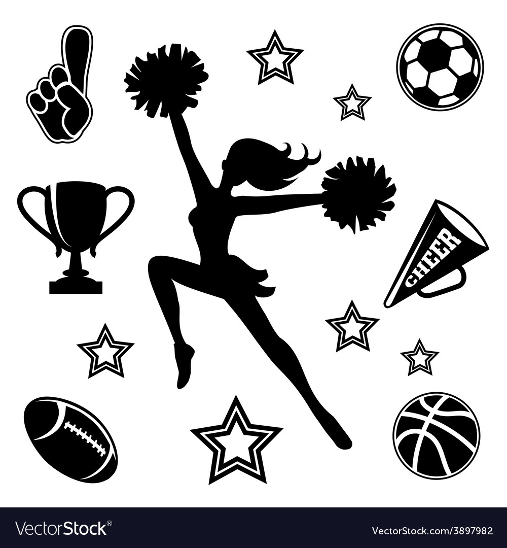 Young cheerleader with associated icons vector | Price: 1 Credit (USD $1)