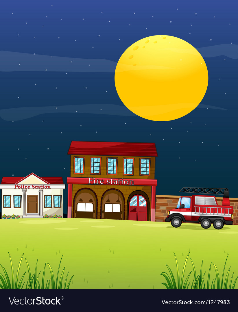 A police station beside the fire station with a vector | Price: 1 Credit (USD $1)