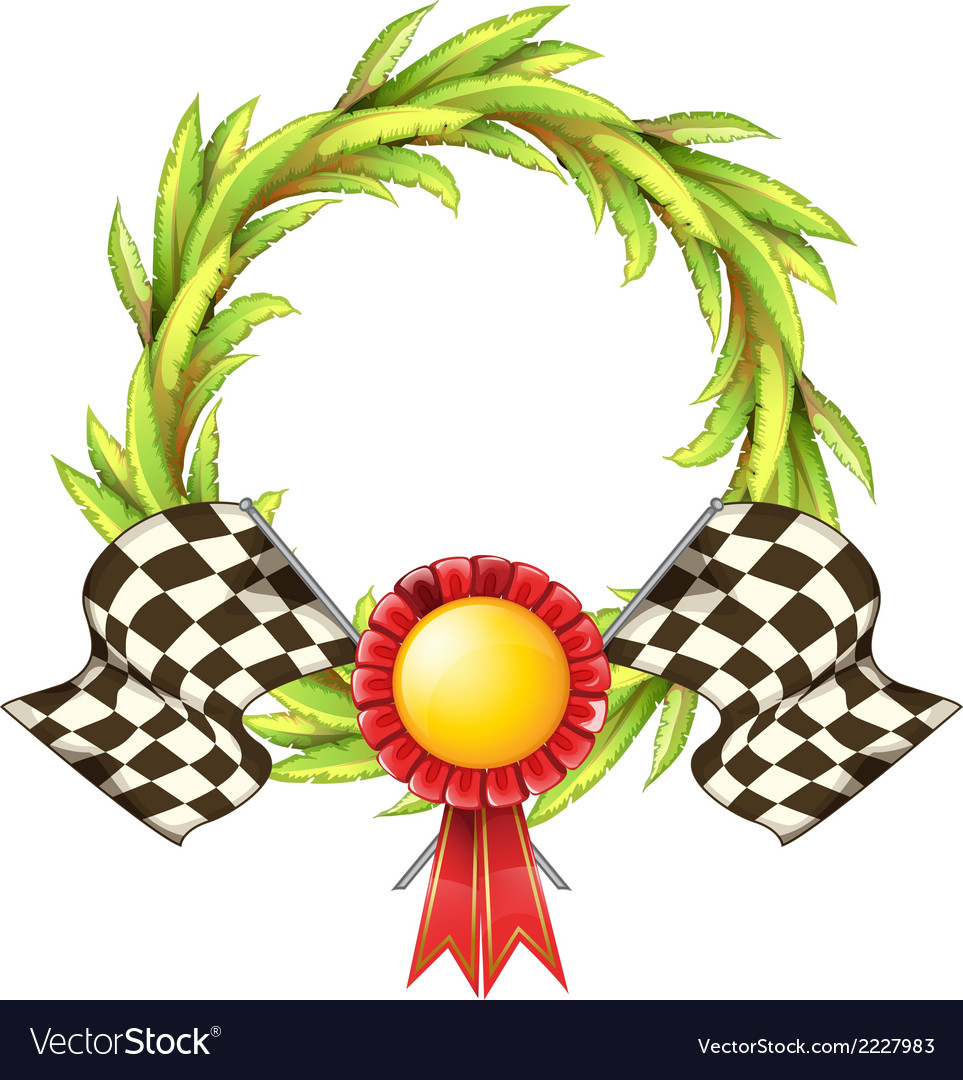 A ribbon with two racing flags vector | Price: 1 Credit (USD $1)