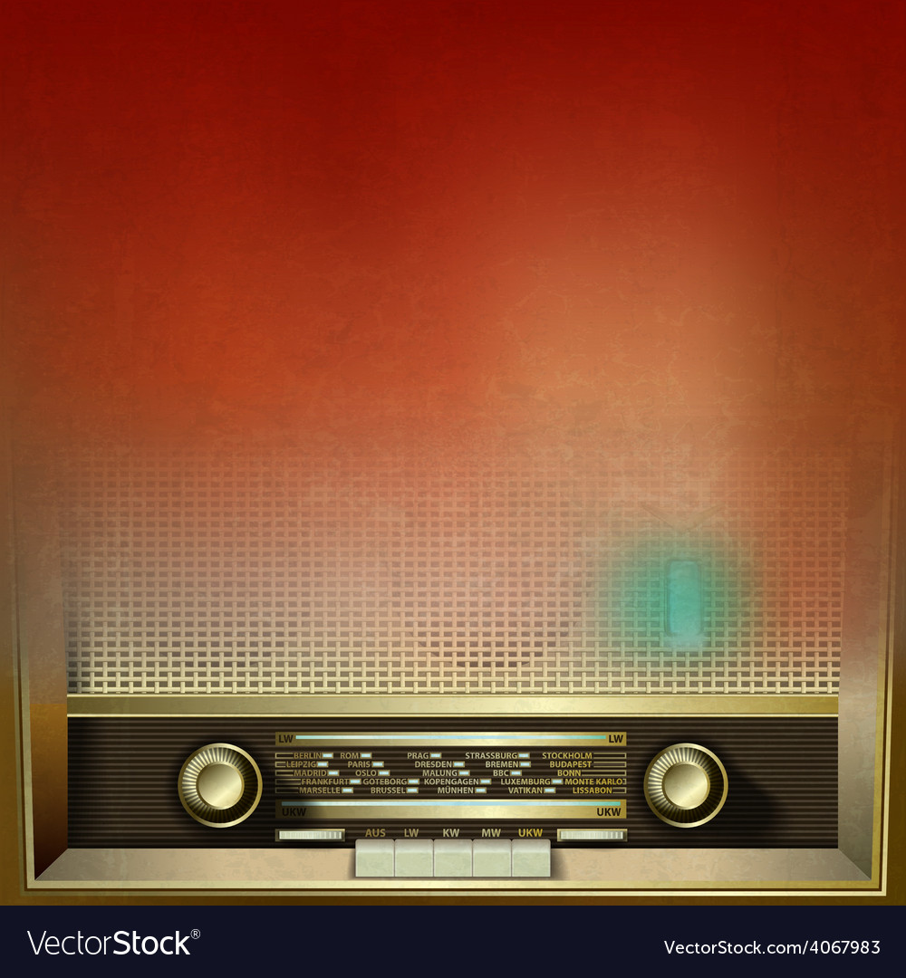 Abstract brown grunge background with retro radio vector | Price: 1 Credit (USD $1)