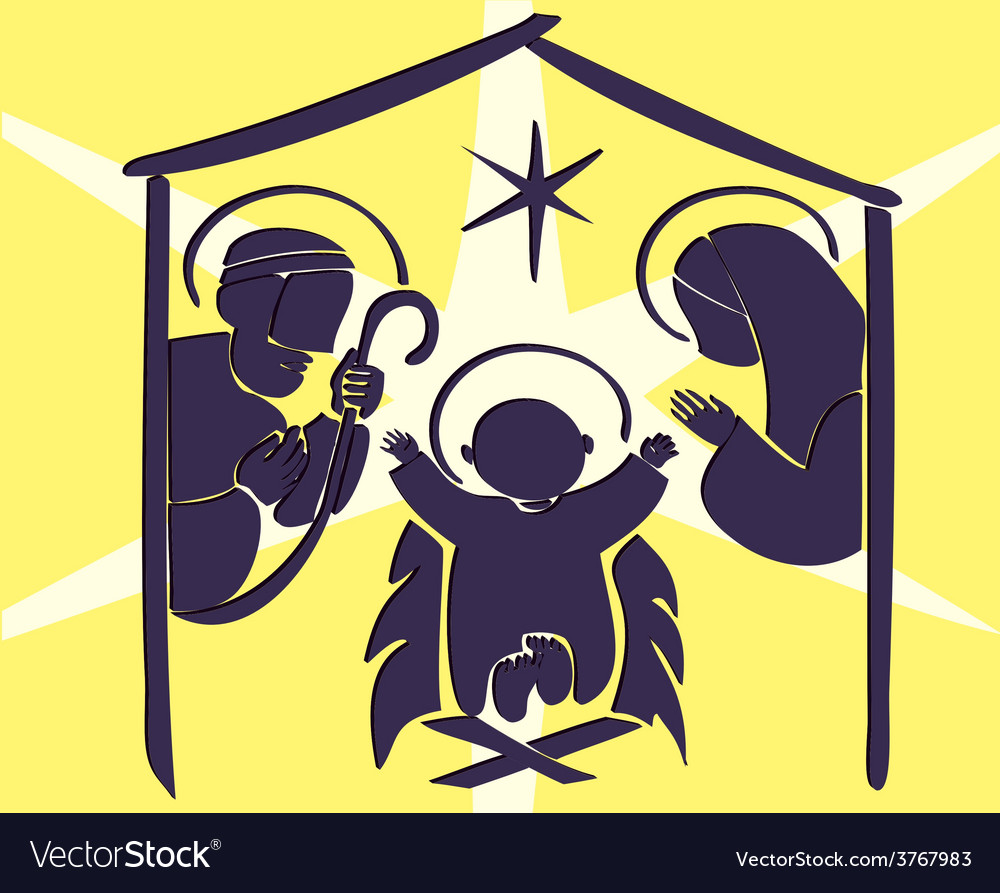Baby jesus in a manger abstract vector | Price: 1 Credit (USD $1)