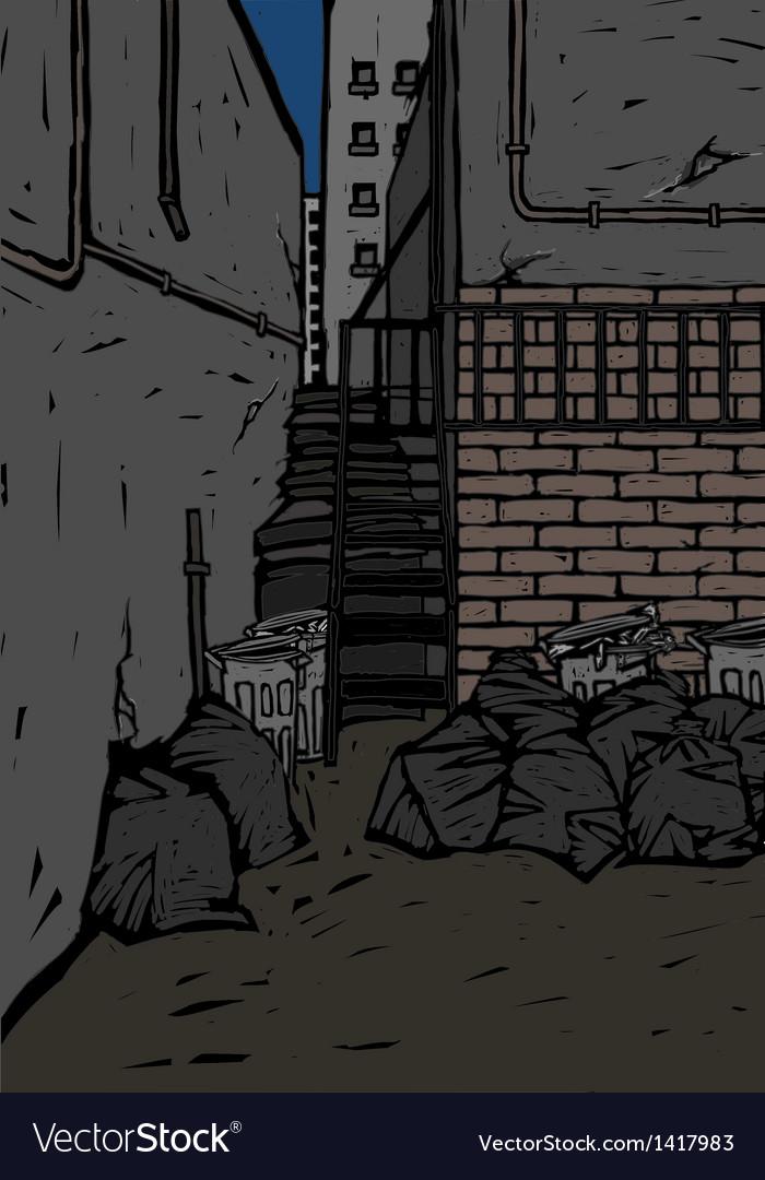 Back alley scene vector | Price: 1 Credit (USD $1)