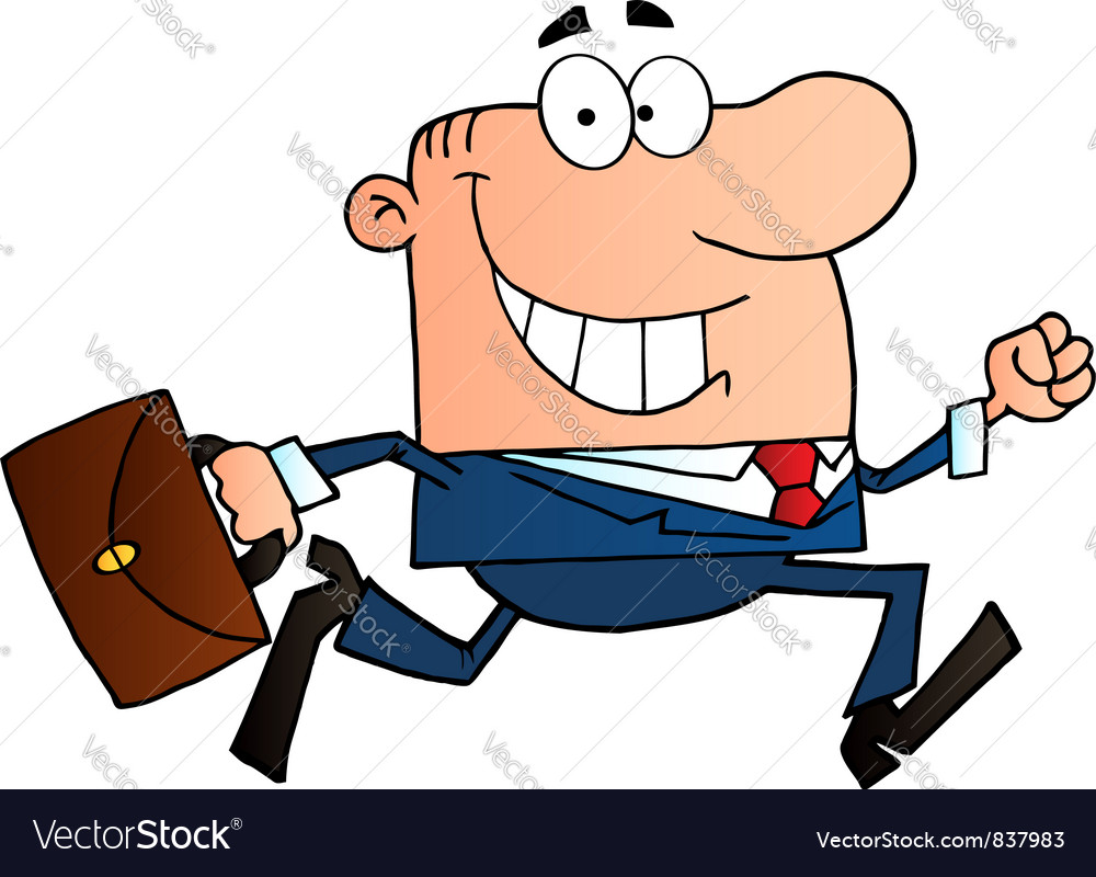 Businessman running to work with briefcase vector | Price: 1 Credit (USD $1)