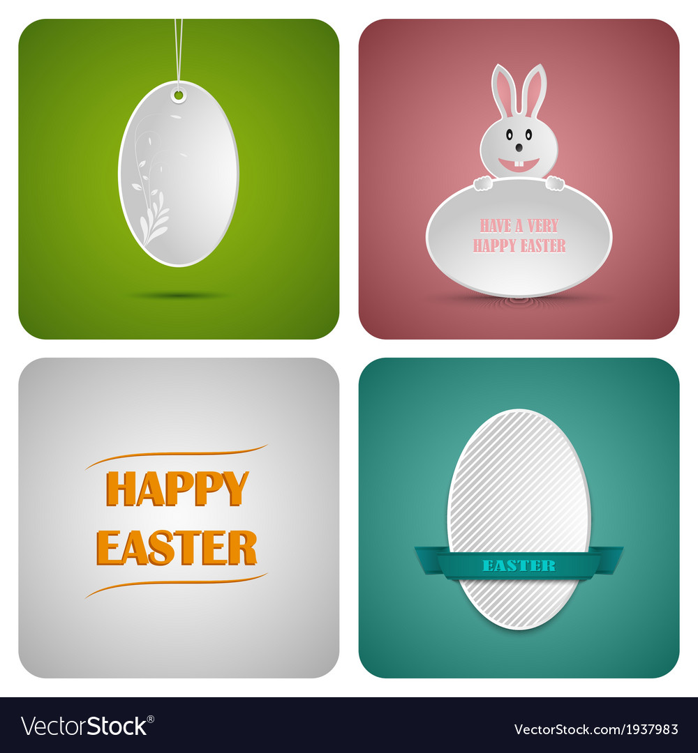 Happy easter decoration card made from white paper vector | Price: 1 Credit (USD $1)