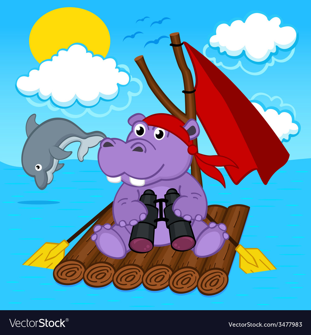 Hippo on raft vector | Price: 1 Credit (USD $1)