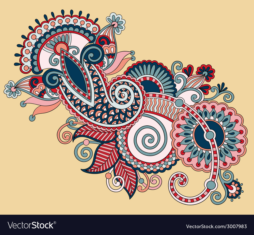 Original digital draw line art ornate flower vector | Price: 1 Credit (USD $1)