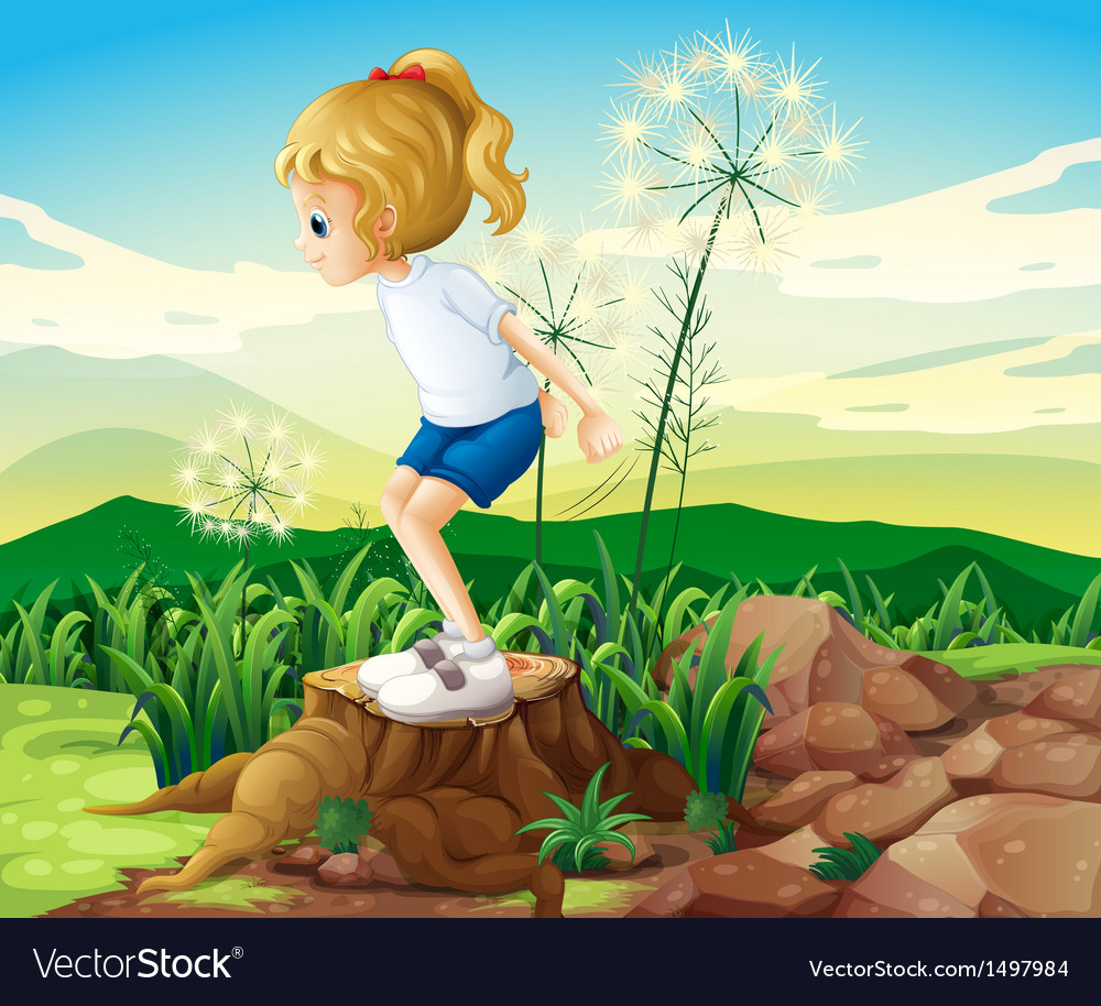 A girl in the field vector | Price: 1 Credit (USD $1)