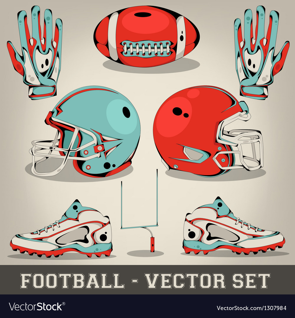 American football set vector | Price: 1 Credit (USD $1)