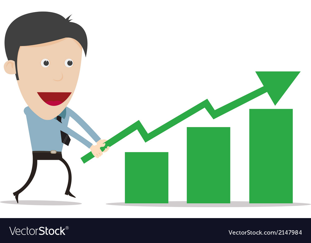 Cartoon with growth success business gree vector | Price: 1 Credit (USD $1)