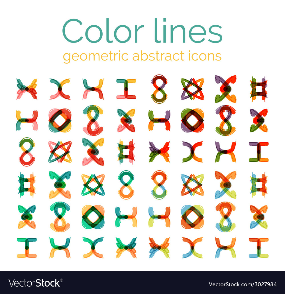 Color line design abstract icons collection vector | Price: 1 Credit (USD $1)
