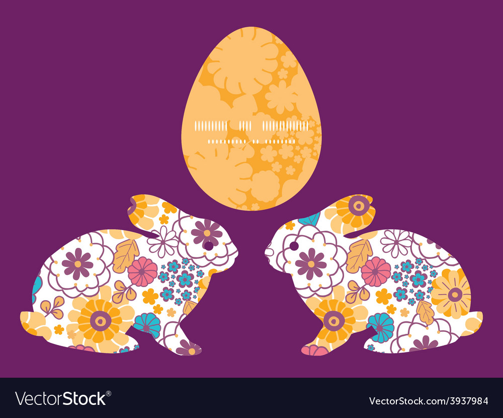 Colorful oriental flowers bunny rabbit vector | Price: 1 Credit (USD $1)
