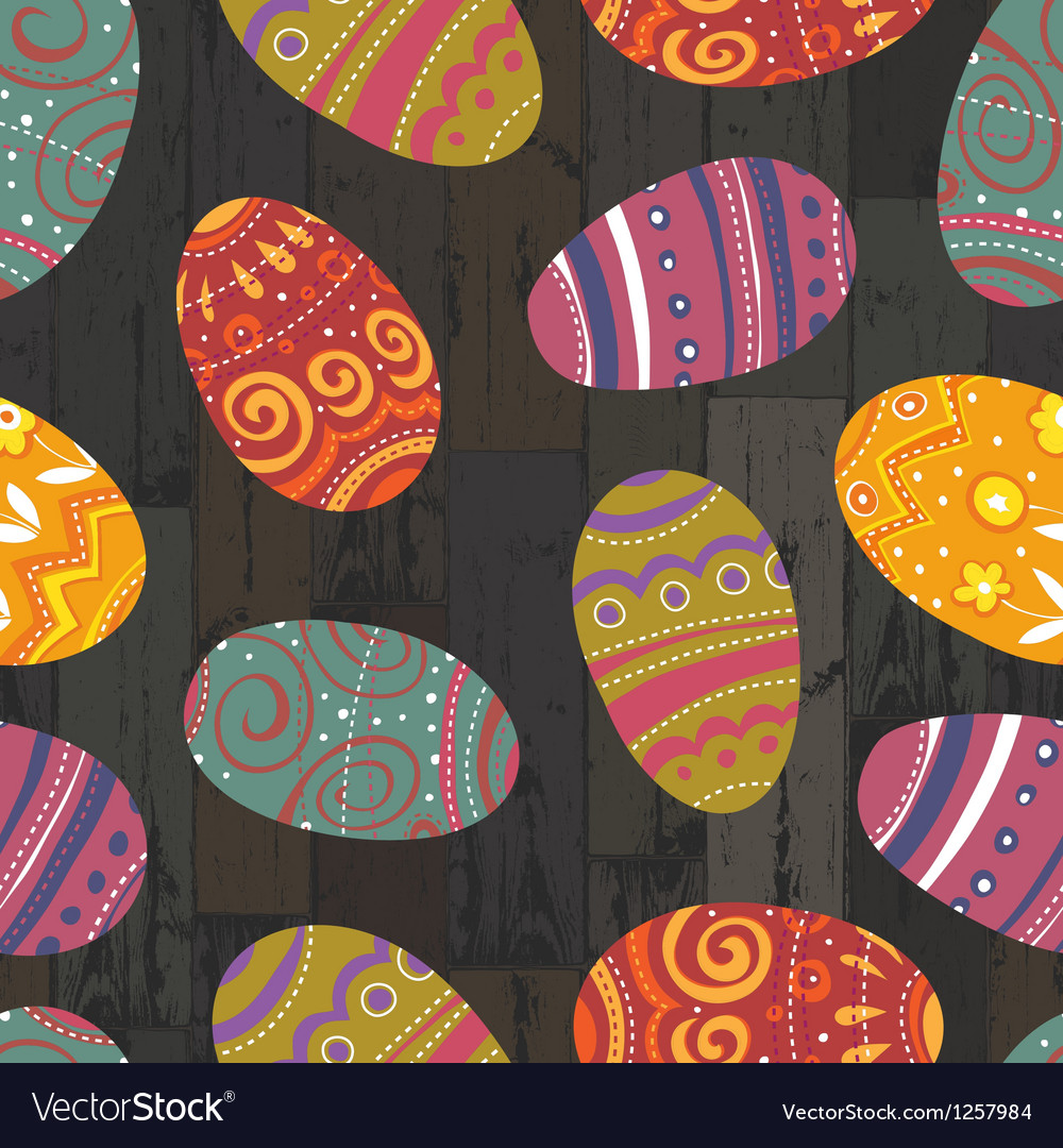 Easter eggs seamless wooden background vector | Price: 1 Credit (USD $1)