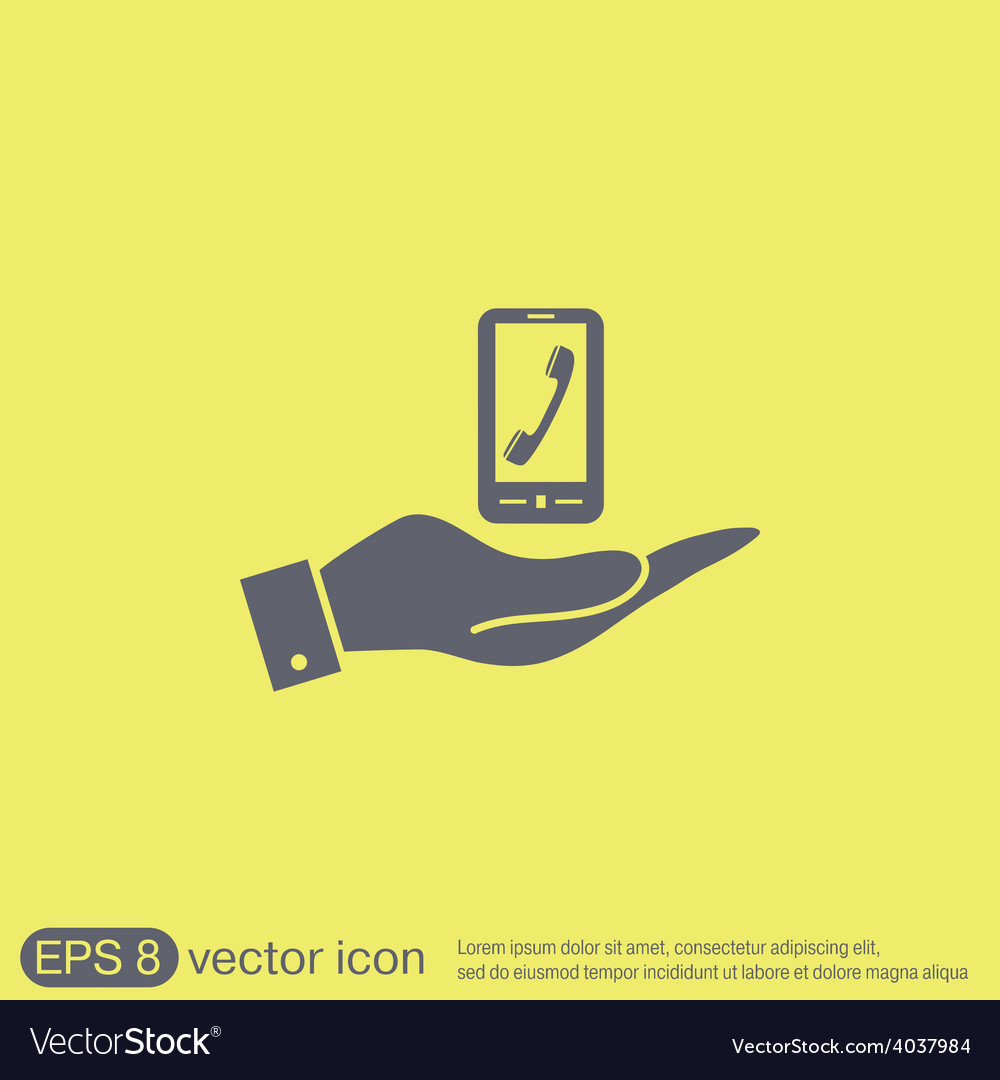 Hand holding a smartphone with the symbol vector | Price: 1 Credit (USD $1)