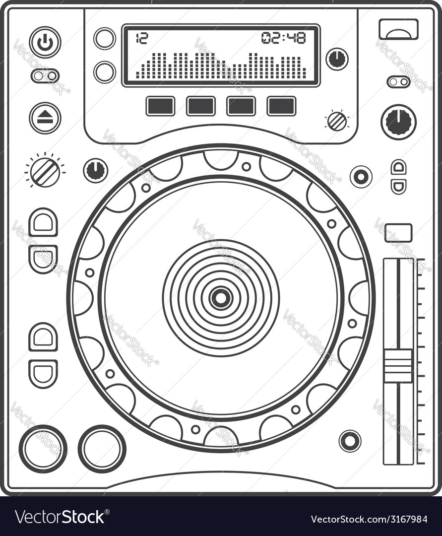 Outline dj cd player vector | Price: 1 Credit (USD $1)