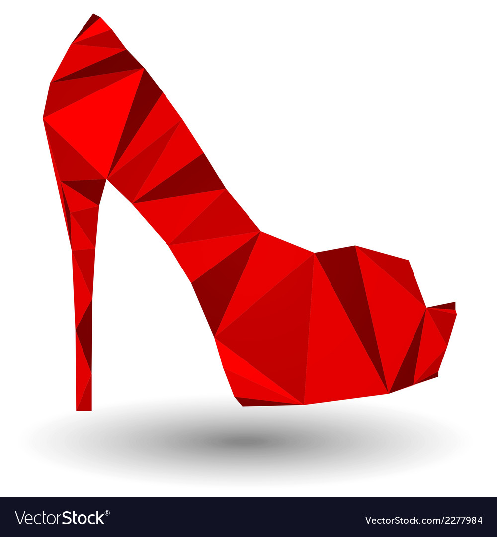 Red abstract high heel woman shoe in origami style vector | Price: 1 Credit (USD $1)