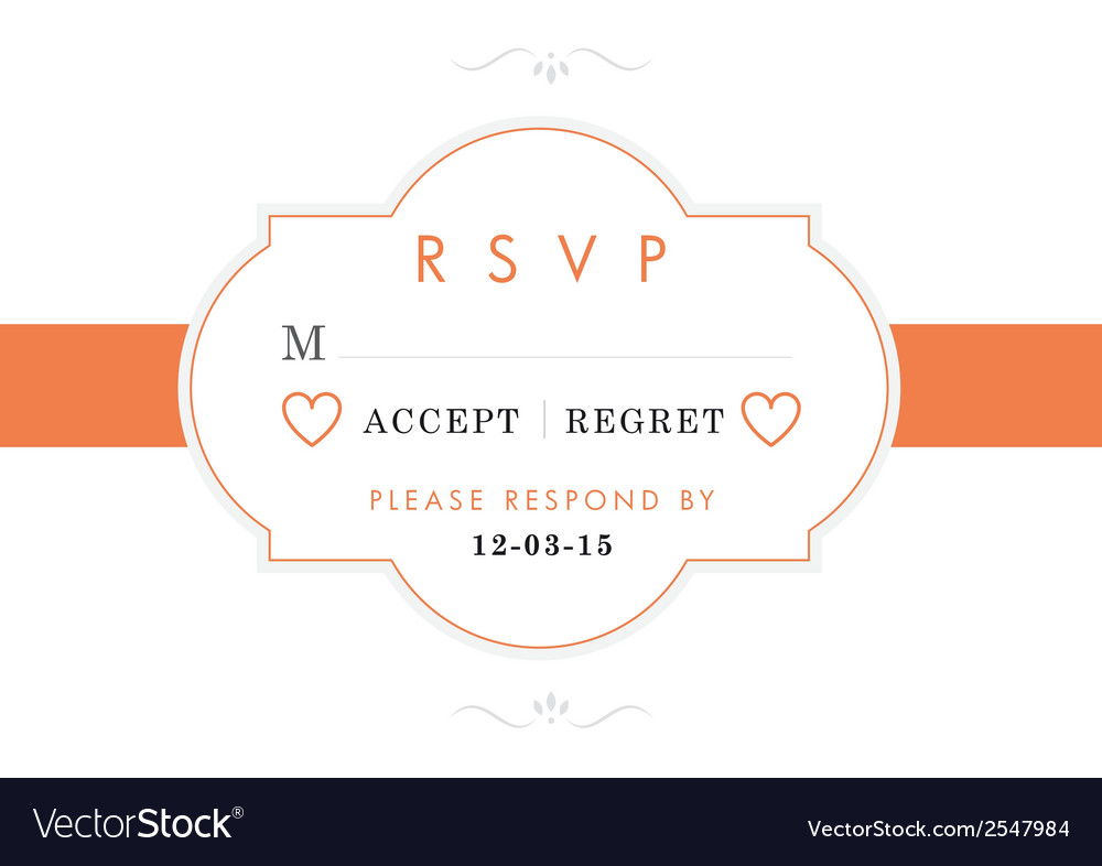 Rsvp wedding card orange style vector | Price: 1 Credit (USD $1)