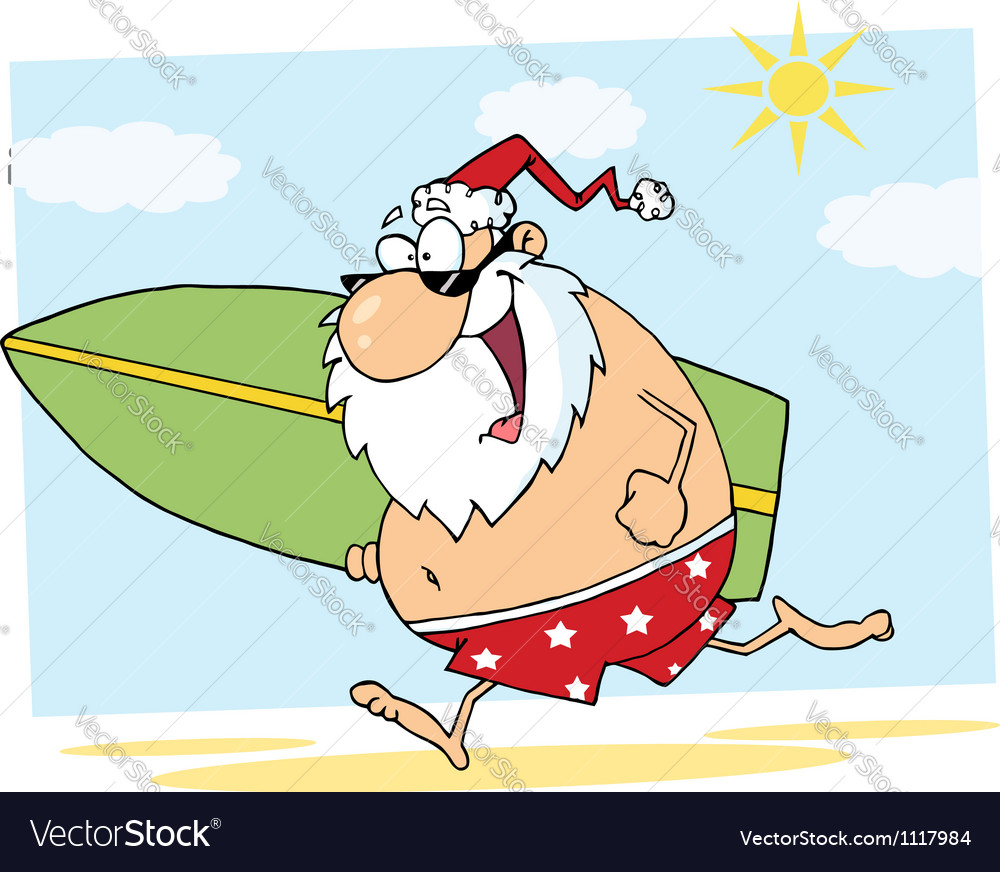 Santa claus surfer mascot cartoon character vector | Price: 1 Credit (USD $1)