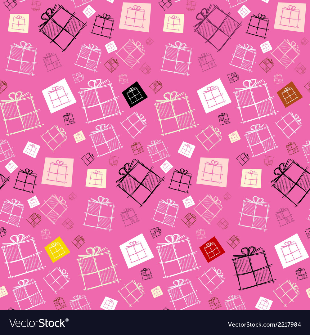 Seamless pattern - paper present boxes on pink vector | Price: 1 Credit (USD $1)