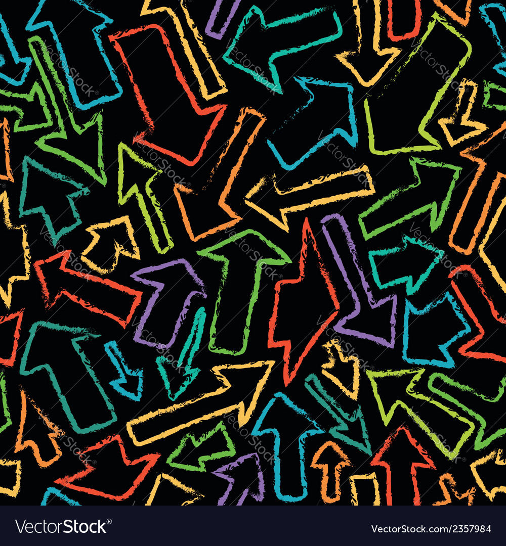 Seamless pattern of handdrawn colorful arrows vector | Price: 1 Credit (USD $1)