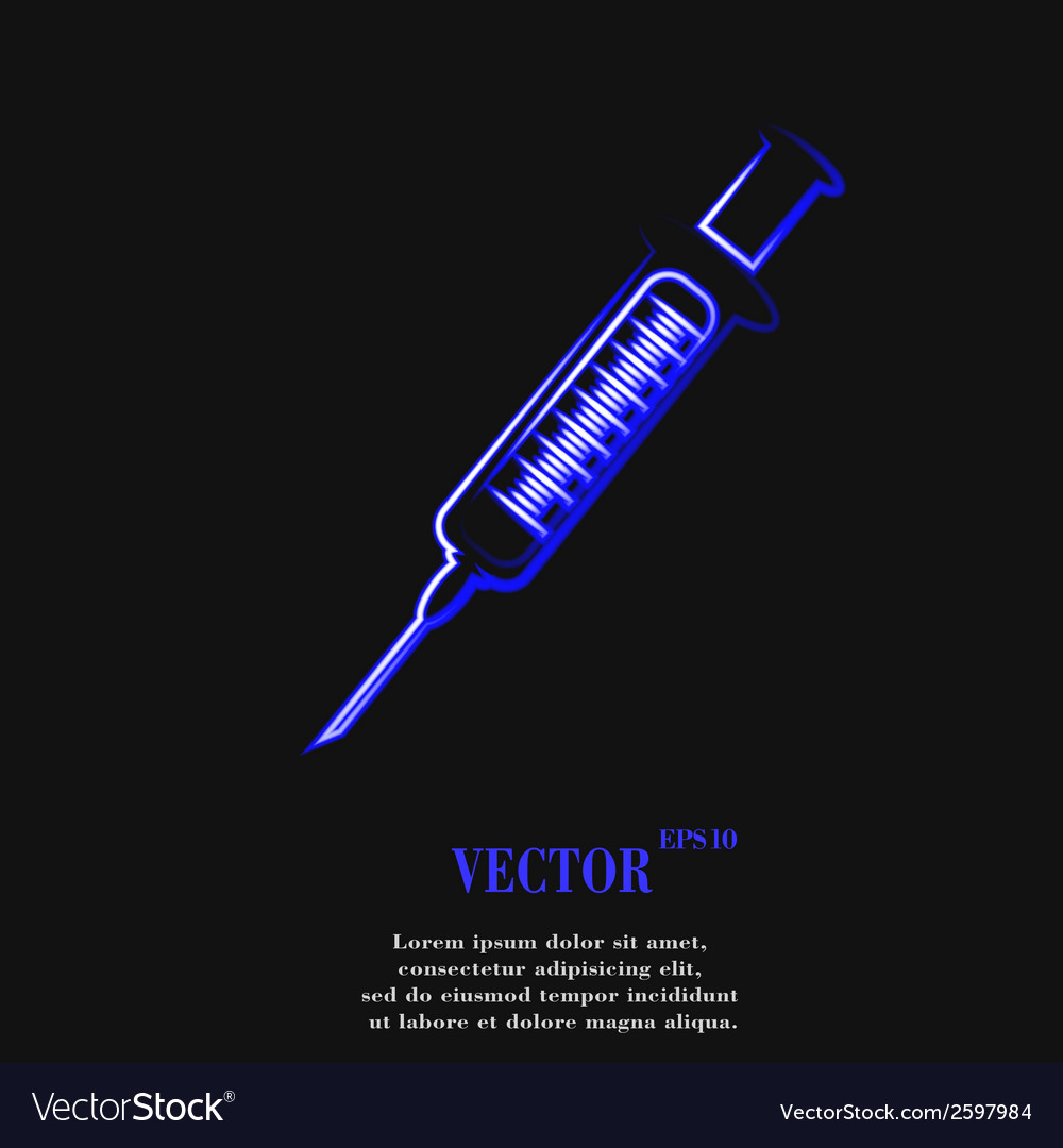 Syringe flat modern web button and space for your vector | Price: 1 Credit (USD $1)