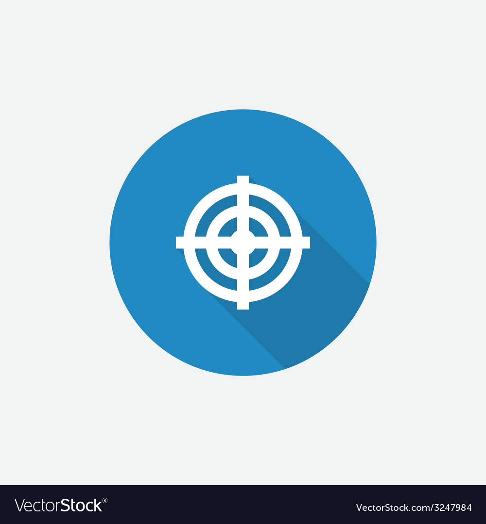 Target flat blue simple icon with long shadow vector | Price: 1 Credit (USD $1)