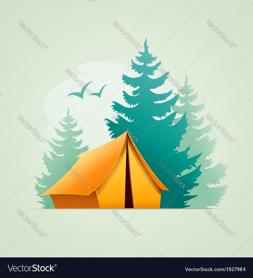 Tent in forest camping vector | Price: 1 Credit (USD $1)